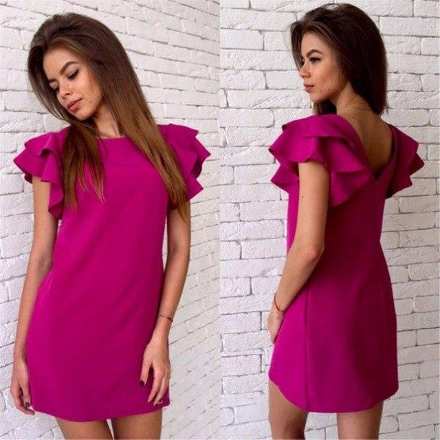 2018 Women Fashion Elegant Solid OL Office Loose Dress Summer New Eveningrricdress-rricdress