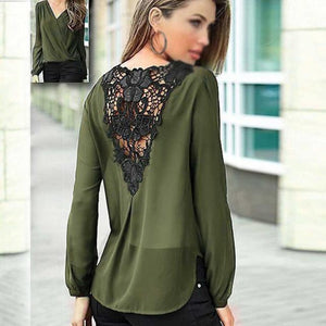 Vintage 2018 Blouses Lace Tops Chiffon Women Long Sleeved V Neck Summerrricdress-rricdress