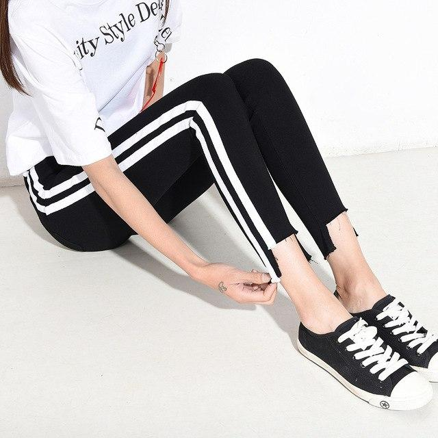 2018 Autumn New Women Pants Fashion Trend Checked Legging Skinny Striperricdress-rricdress
