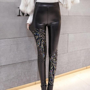 Punk Gothic Women PU Leather Pants Stitching Embroidery Sequin winter Ladies Highrricdress-rricdress