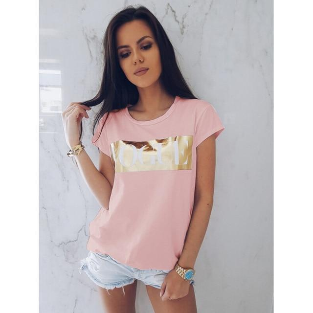 Womens Casual Short Sleeve Tops Summer Vogue Slogan Printed Tee shirt femmerricdress-rricdress