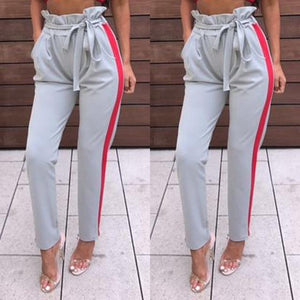 women OL high waist harem pants bow tie drawstring sweet elasticrricdress-rricdress