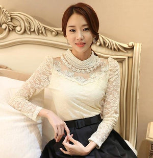New Women Lace fashion casual girl blouse beaded lace shirt women clothesrricdress-rricdress