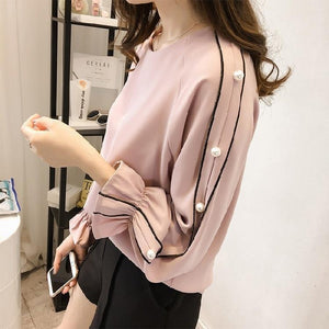 Plus Size 4XL Chiffon Blouse Women Loose Shirts Casual Flare Sleeve Pearlrricdress-rricdress