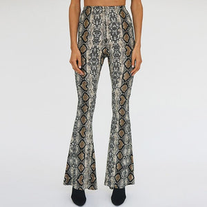 NEW Fashion Flare Pants Snakeskin flared trousers High Waist leopard pants 2018rricdress-rricdress