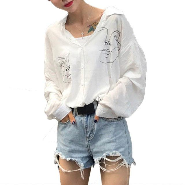 Women Blouses Harajuku Shirts Funny Face Printed Long Sleeve Tops Ladies Officerricdress-rricdress