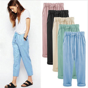 2018 summer cotton linen pants women plus size women pants casual brandrricdress-rricdress