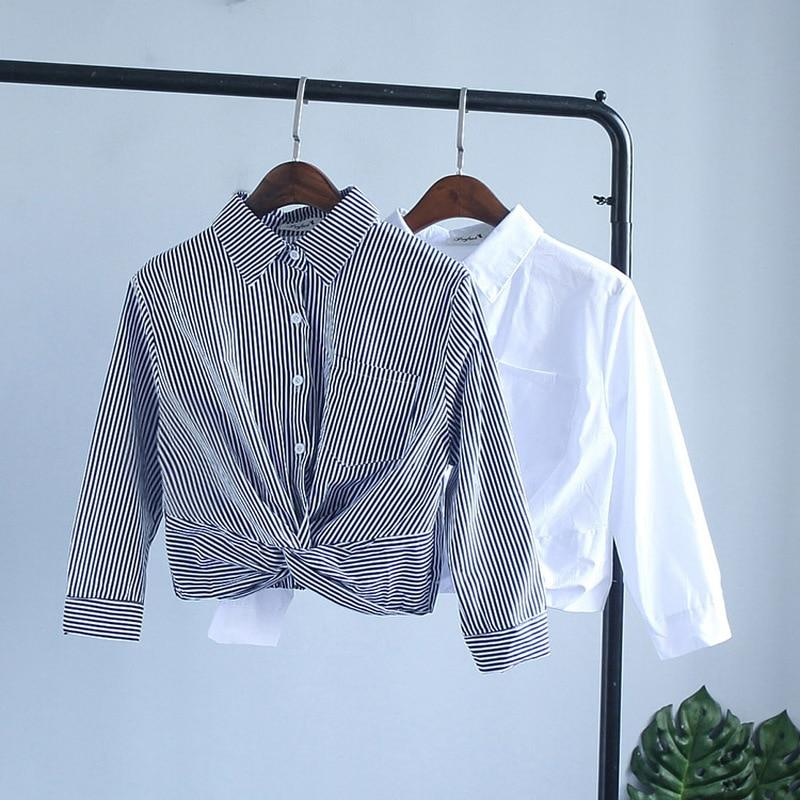 2018 New Elegent White Shirt Chiffon Blouse for Women Striped Summer Officerricdress-rricdress