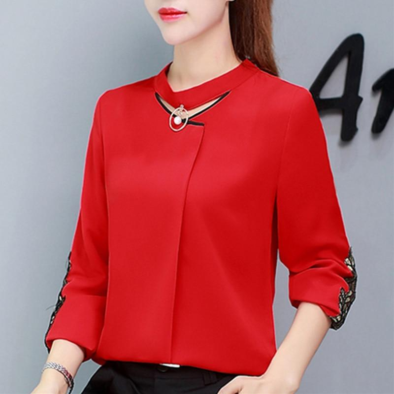 Autumn Womens Tops And Blouses Long Sleeve Chiffon Blouse Ladies Tops Newrricdress-rricdress