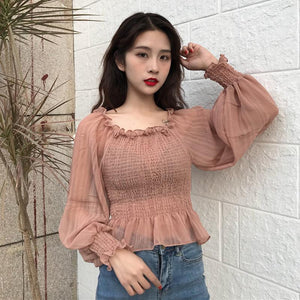 2018 fashion Women Blouse shirts Autumn new women's clothing Slash neck lanternrricdress-rricdress