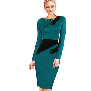 Black Dress Tunic Women Formal Work Office Sheath Patchwork Line Asymmetrical Neckrricdress-rricdress