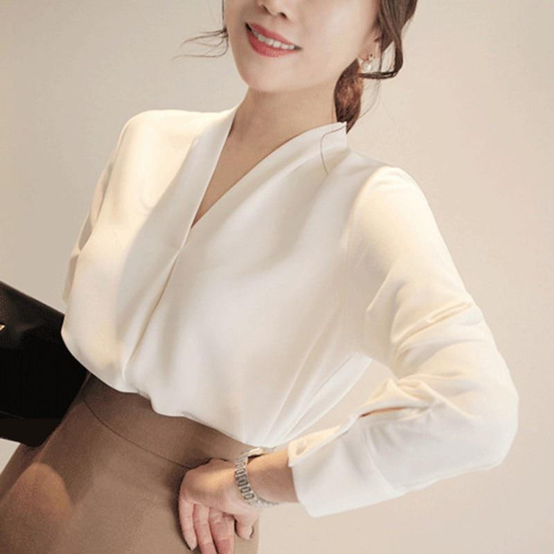 Classical Brief Style Chiffon Blouse Fashion Women Long Sleeve Shirt Office Ladyrricdress-rricdress