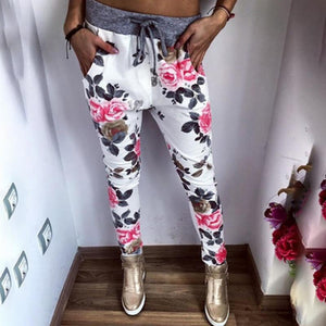 New Style Fashion Women Casual Pants Flower Printed Womens Harem Pant 2018rricdress-rricdress