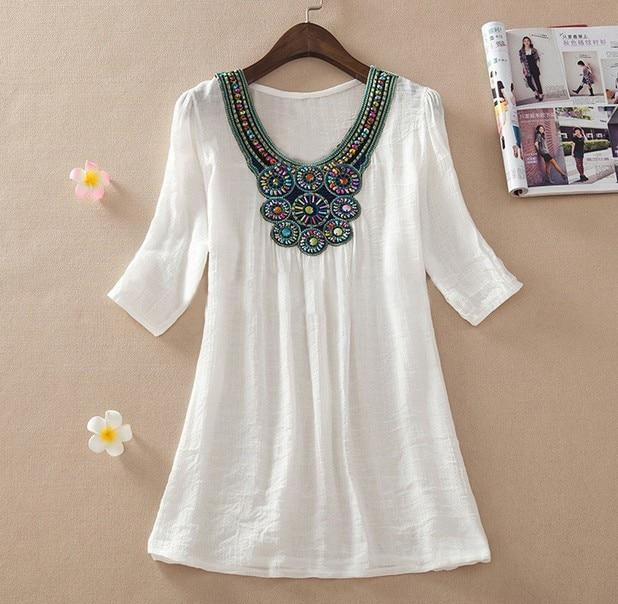 2015 Summer New Women Floral Embroidery Plus Size XXXL Loose Blouse Shirtsrricdress-rricdress