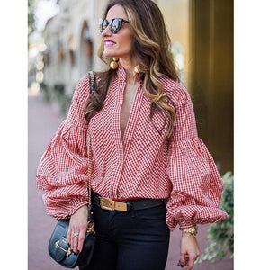 Fashion New Women's Shirts V-Neck Long Sleeve Button Tees Ladies Autumn Casualrricdress-rricdress