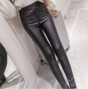 2018 Autumn Winter women leather pants High Waisted elastic glossy shiny trousersrricdress-rricdress