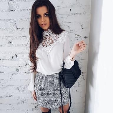 2018 Summer Ladies New Fashion Lace Long Sleeve Chiffon Shirts Casualrricdress-rricdress