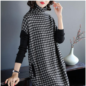 Plus Size Women Black Houndstooth Knitting Stretch Sweater Dress 2018 Winter Femalerricdress-rricdress