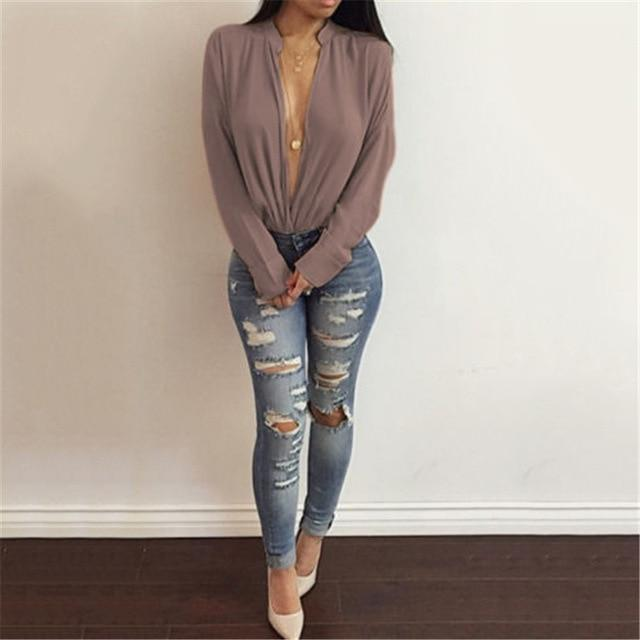 Fashion Women Long Sleeve Casual Tops and Blouses elegant V Neck Shirtrricdress-rricdress