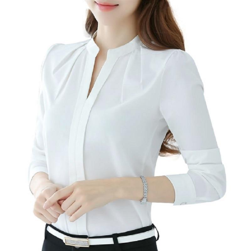 Women V-Neck Tee Tops Long Sleeve Casual Chiffon Blouse Female Workrricdress-rricdress