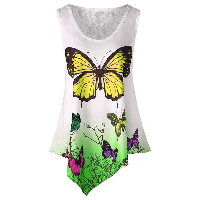 New Summer Women Tunic Tops Casual Sleeveless Blouses Irregular Butterfly Printed Lacerricdress-rricdress