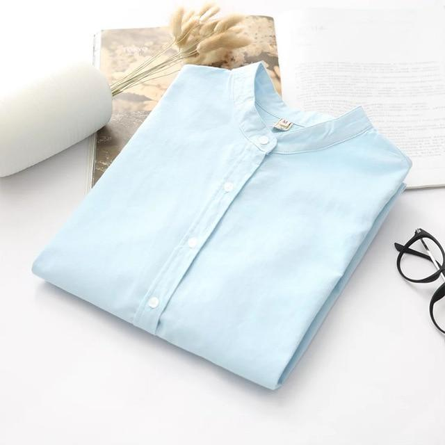 Long Sleeve White Blue Womens Oxford Shirts Plus Size 2018 New Casualrricdress-rricdress