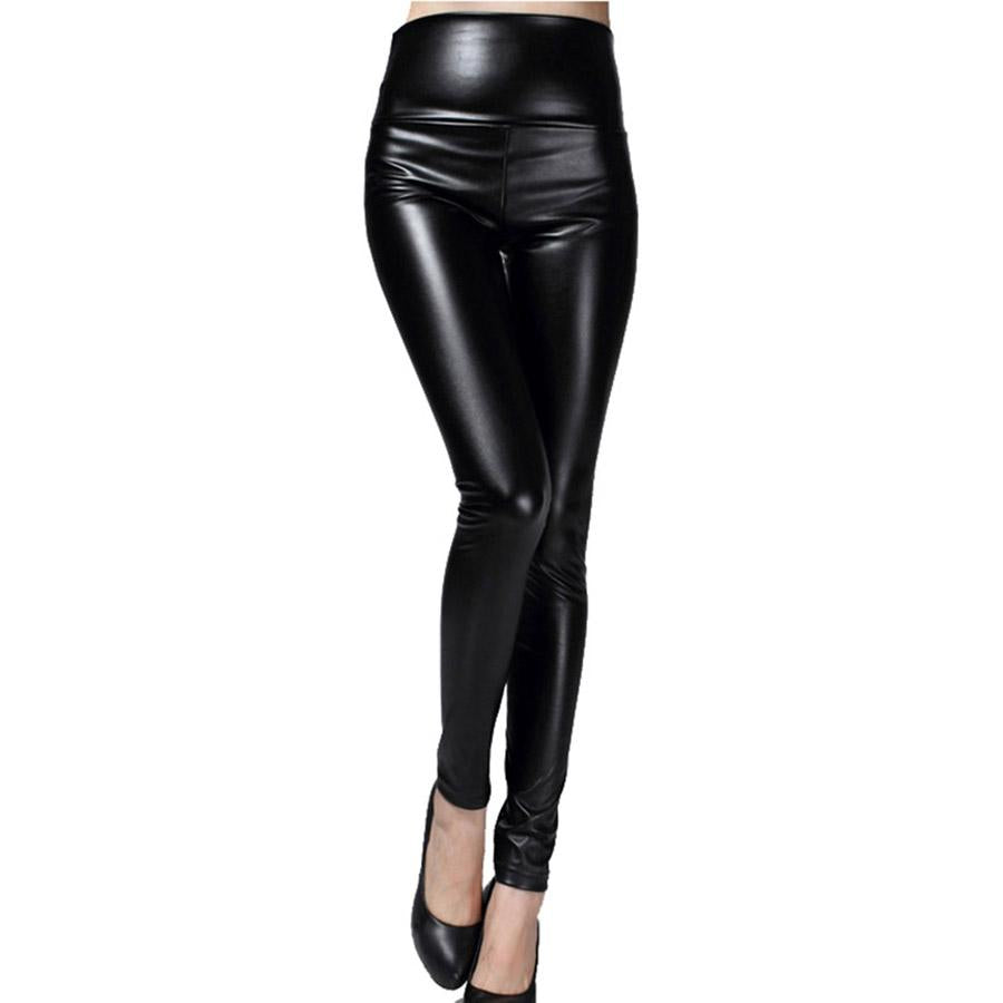2018 thin spring autumn shiny PU Leather women pants large stretch highrricdress-rricdress