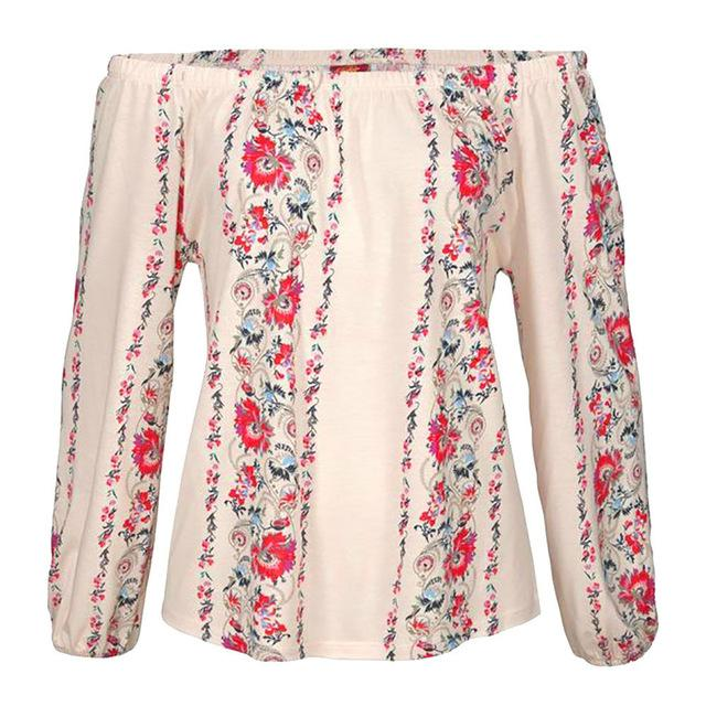 ISHOWTIENDA 2018 Fashion Top Summer Blouse Women Long Sleeve Floral Print Offrricdress-rricdress