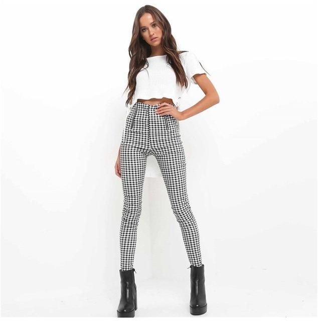 OL Summer Women Pants elegant plaid High Waist Zipper pants rricdress-rricdress