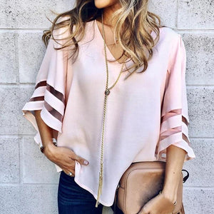 Sexy V Neck Casual Loose Blouse Solid Tops Women Chiffon Shirtrricdress-rricdress