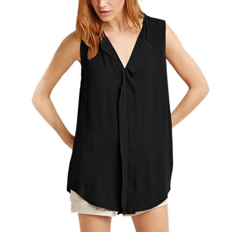 Plus Size Chiffon Blouse Summer Fashion Loose Sleeveless V-Neck Casual Shirts Womenrricdress-rricdress