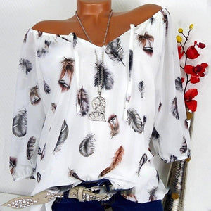 Gumprun 2018 New Leisure Loose Blouse Women Feather Printing Summer Tops Forrricdress-rricdress