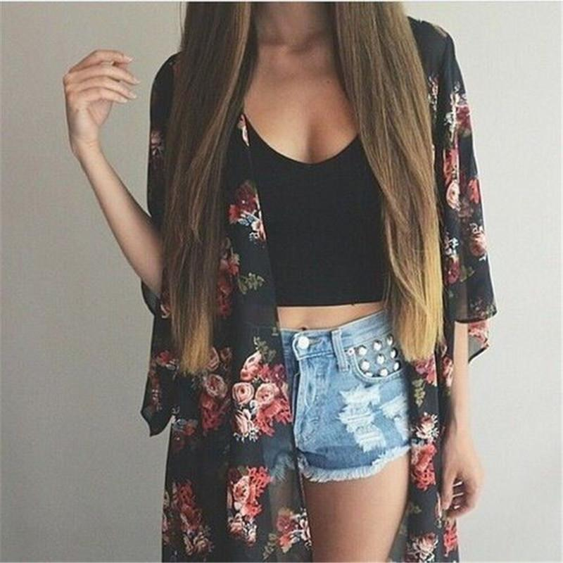 Women Casual Vintage Kimono Cardigan Ladies 2018 Summer Long Crochet Chiffon Kimonorricdress-rricdress