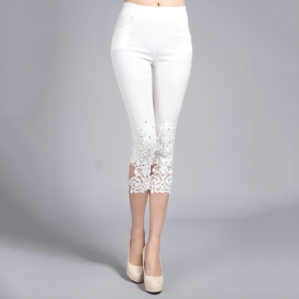 Plus Size 4XL Women Summer Lace Pants Crochet Rhinestone Skinny Stretch Croppedrricdress-rricdress