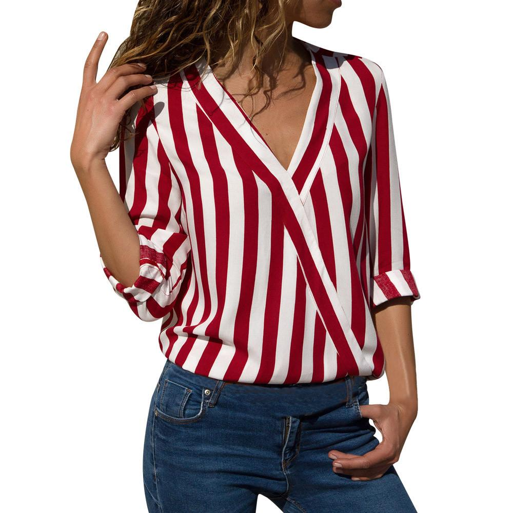 Blouse woman fashion Women Shirts Striped Long Sleeve Irregular Office Blouserricdress-rricdress