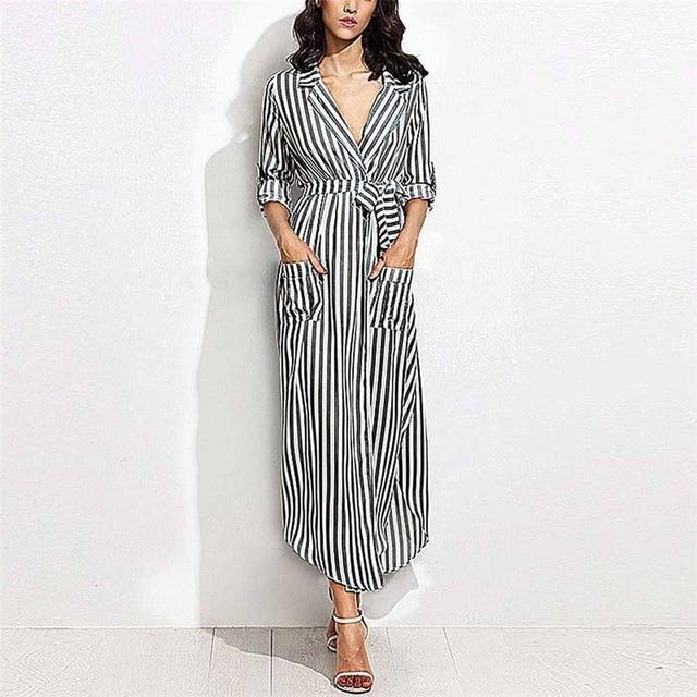 Striped Shirt Dress Women Casual Long Sleeve Office Ladies High Waist Turn-Downrricdress-rricdress