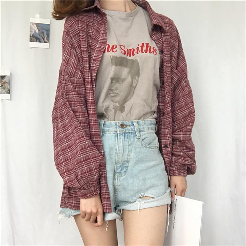 Women's Shirts Tunic Japan Kawaii Ladies Retro Chic Pocket Split Plaid Shirtrricdress-rricdress