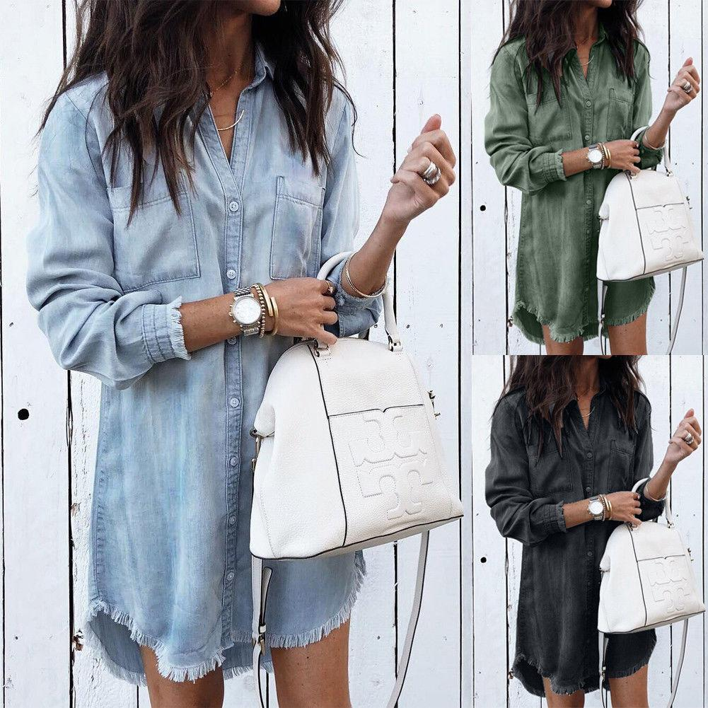 Women Shirts Casual V Neck Blouse Tassel Denim Top Ladies Tunic Longrricdress-rricdress