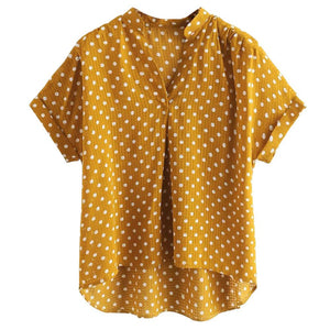 Womens Tops and Blouses Summer 2018 Yellow Polka Dot V-neck Short Sleeverricdress-rricdress