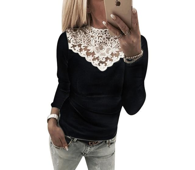 2018 Women's Long Sleeve Knitted Lace Blouse Hot Ladies Sweater Jumper topsrricdress-rricdress