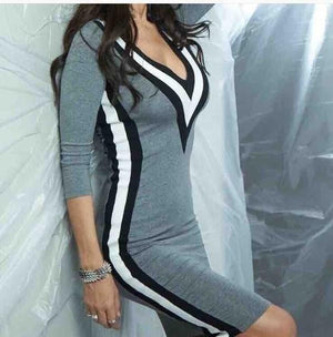 2018 New Arrivrl Autumn Winter Fashion Dress Sexy Deep V-neck Three-colorrricdress-rricdress