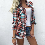 Hot Plus Size Women Blouse Tops Plaid Pocket Turn-Down Collar Shirt Springrricdress-rricdress