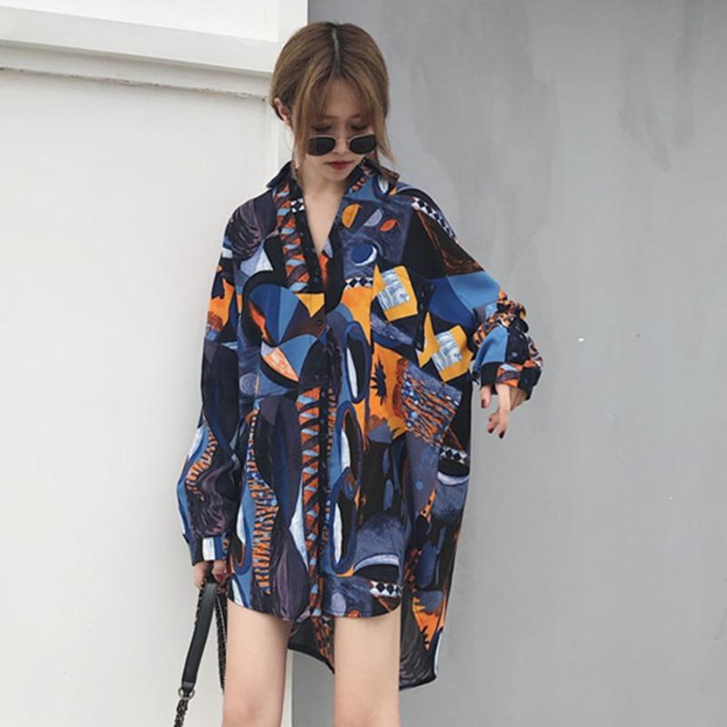 [QLZW] 2018 Autumn New Fashion Turn Down Collar Loose Print Long Sleeverricdress-rricdress
