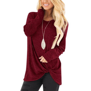 Womens Tops and Blouses 2018 New Autumn Women Casual Long Sleeve Knotrricdress-rricdress