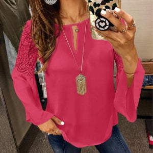 5XL Women Blouses Chiffon Lace Patchwork Flare Sleeve Blusas Work Shirts Womensrricdress-rricdress
