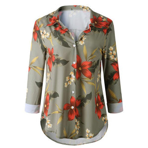 Floral Print Blouse Striped Long Sleeve Button Casual Loose Shirts Women Turn-downrricdress-rricdress