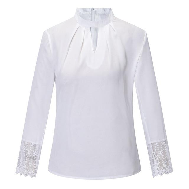FeiTong Elegant chiffon feminine blouse women Splice lace turtleneck summer women blouserricdress-rricdress