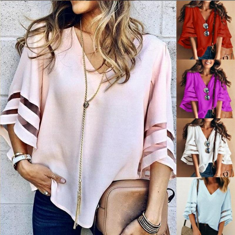 Women Flare Sleeve Blouse Summer Loose V Neck Tops Mesh Stitching Chiffonrricdress-rricdress