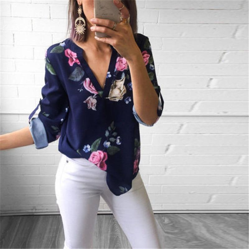 2018 New Womens Long Sleeve V neck Floral Print Tops Fashion Ladiesrricdress-rricdress