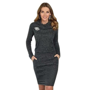 Autumn Winter Black Fashion Women Dress Casual Long Sleeve Lady Party Sweaterrricdress-rricdress